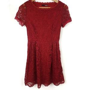 Lulus Red Lace Keyhole Back Mini Dress Size XS